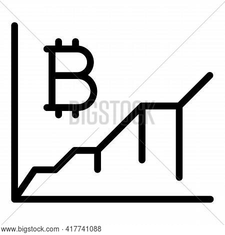 Bitcoin Market Growth Icon. Outline Bitcoin Market Growth Vector Icon For Web Design Isolated On Whi
