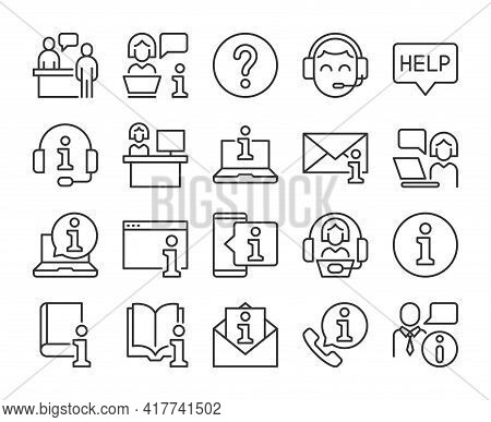 Set Of Help Desk Line Icons. Vector Illustration. Editable Stroke, 64x64 Pixel Perfect.