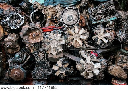 Used Old Engines In A Second-hand Car Parts Store
