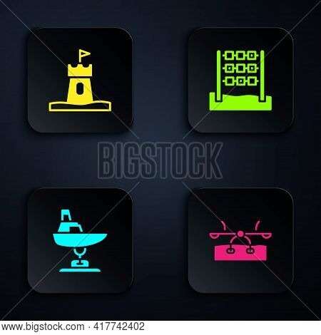Set Seesaw, Sand Tower, Swing Boat And Tic Tac Toe Game. Black Square Button. Vector