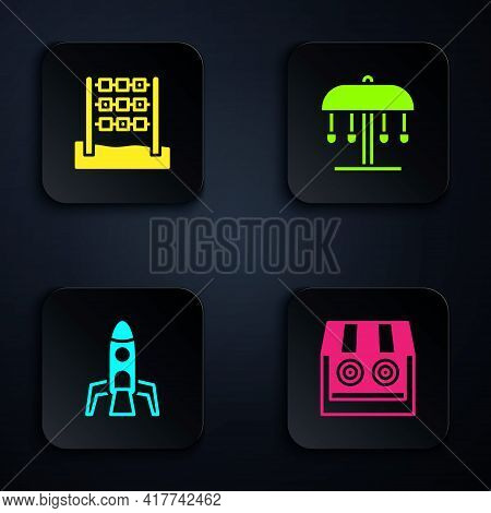 Set Shooting Gallery, Tic Tac Toe Game, Rocket Ship And Attraction Carousel. Black Square Button. Ve