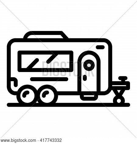Camper Van Icon. Outline Camper Van Vector Icon For Web Design Isolated On White Background
