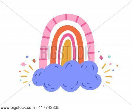 Cute Funny Rainbow, Magic Cloud And Stars Isolated On White Background. Childish Drawing In Scandina