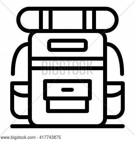 Tourist Backpack Icon. Outline Tourist Backpack Vector Icon For Web Design Isolated On White Backgro