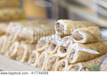 Closeup Of Traditional Turkish Delight In Shop