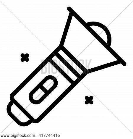 Camping Flashlight Icon. Outline Camping Flashlight Vector Icon For Web Design Isolated On White Bac