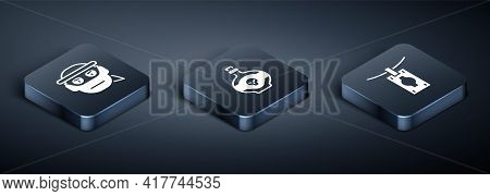 Set Isometric Bandit, Money Laundering And Poison Bottle Icon. Vector