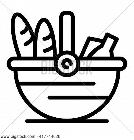 Park Picnic Basket Icon. Outline Park Picnic Basket Vector Icon For Web Design Isolated On White Bac