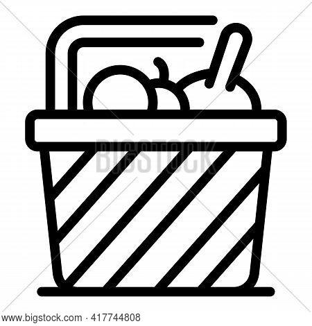 Market Picnic Basket Icon. Outline Market Picnic Basket Vector Icon For Web Design Isolated On White