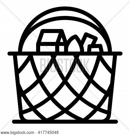 Outdoor Picnic Basket Icon. Outline Outdoor Picnic Basket Vector Icon For Web Design Isolated On Whi
