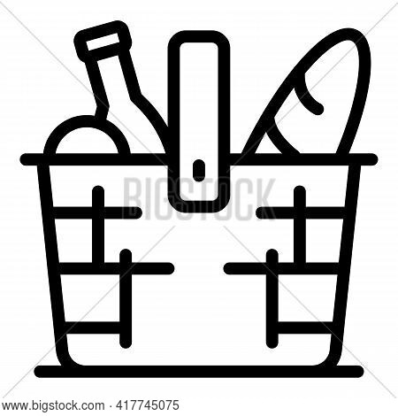 Healthy Picnic Basket Icon. Outline Healthy Picnic Basket Vector Icon For Web Design Isolated On Whi