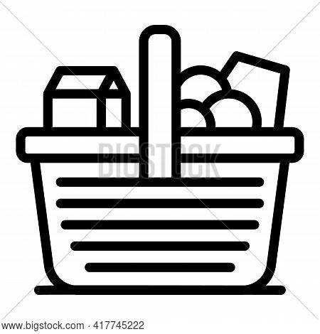 Spring Picnic Basket Icon. Outline Spring Picnic Basket Vector Icon For Web Design Isolated On White