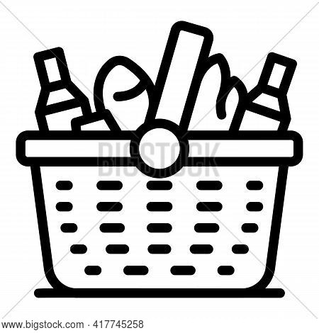 Leisure Picnic Basket Icon. Outline Leisure Picnic Basket Vector Icon For Web Design Isolated On Whi