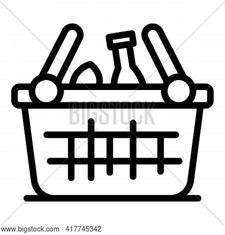 Food Hamper Icon. Outline Food Hamper Vector Icon For Web Design Isolated On White Background