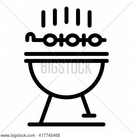 Outdoor Grill Icon. Outline Outdoor Grill Vector Icon For Web Design Isolated On White Background