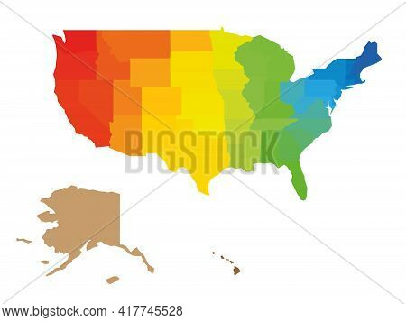 Colorful Map Of Usa, United States Of America. Rainbow Spectrum Colors. Blank Map.