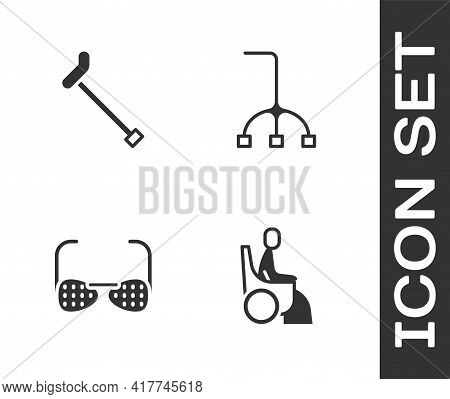 Set Woman In Wheelchair, Walking Stick Cane, Blind Glasses And Icon. Vector
