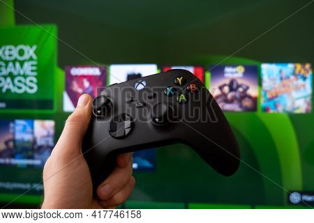 Joystick Controller For Playing On The New Xbox Series X Console. Kiev, Ukraine - April 21, 2021