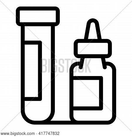 Lab Tube Test Icon. Outline Lab Tube Test Vector Icon For Web Design Isolated On White Background