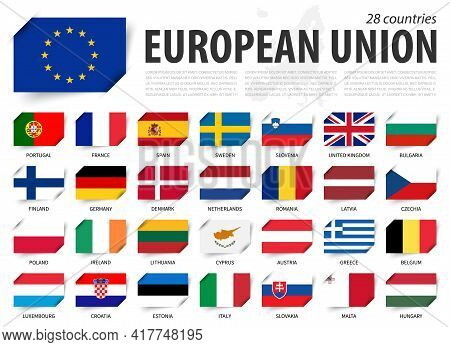 European Union . Eu Flag And Country Membership . And Europe Map On Background . Inserted Paper Flag