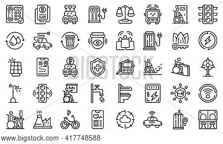 Accessible Environment Icons Set. Outline Set Of Accessible Environment Vector Icons For Web Design