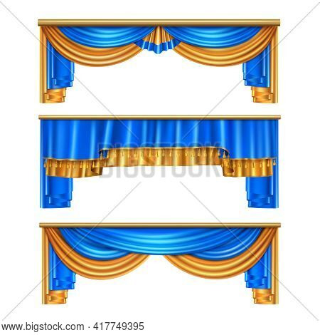 Full Volume Golden Blue Luxury Draping Curtains Set 3 Realistic Home Window Decorations Ideas Isolat
