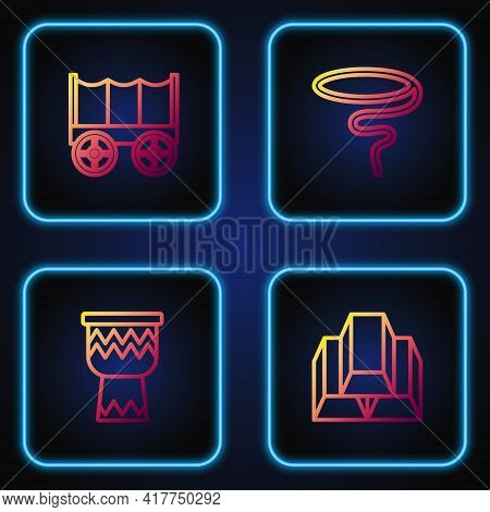 Set Line Gold Bars, Drum, Wild West Covered Wagon And Lasso. Gradient Color Icons. Vector