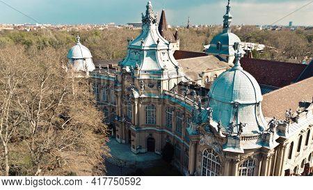 palace inside vajdahunyad castle, budapest, hungary.