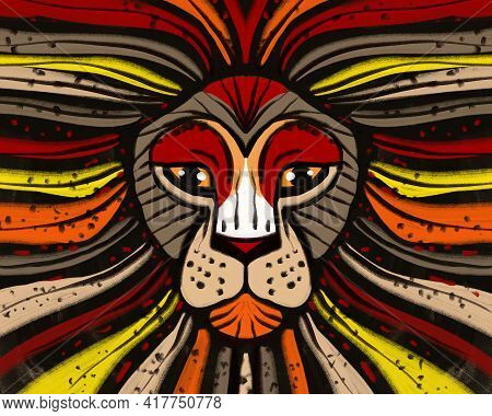 Multicolor Abstract Hand-drawn Art Portrait Of A Lion, Head Of A Predator Drawn In A Modern Style. A