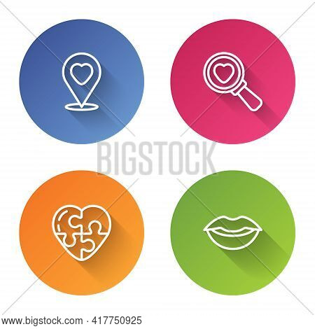 Set Line Location With Heart, Search And Love, Heart And Smiling Lips. Color Circle Button. Vector