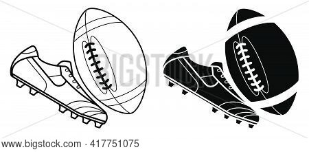 Black And White American Football Ball And Boot, Spiked Sneaker. Isolated Vector On White Background