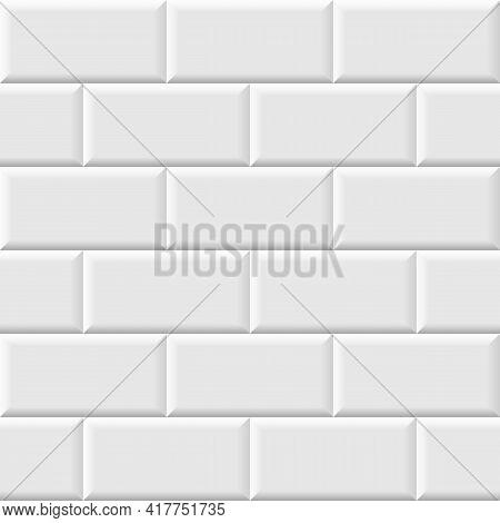 White Metro Tiles Seamless Background. Subway Brick Pattern For Kitchen, Bathroom Or Outdoor Archite