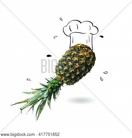 Chef Hat With Pineapple Concept On White Background. Minimal Idea Food And Fruit Creative Concept