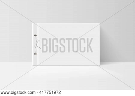 Booklet Or Notebook Mock Up. Blank White Cover Of Book With Paper Bound By Render And String Vector
