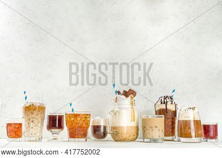Set Of Iced Coffee Drinks