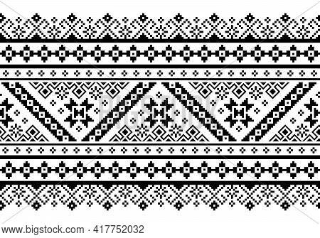 Ukrainian, Belarusian Folk Art Vector Seamless Pattern, Retro Monochrome Long Cross-stitch Ornament