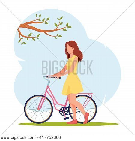 Girl In Summer Dress Stands Next To Pink Bicycle On The Background Of Blue Sky. Bike Ride In Summer