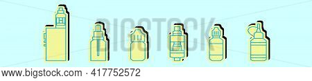 Set Of Vaporizer Cartoon Icon Design Template With Various Models. Modern Vector Illustration Isolat