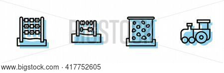 Set Line Climbing Wall, Tic Tac Toe Game, Abacus And Toy Train Icon. Vector