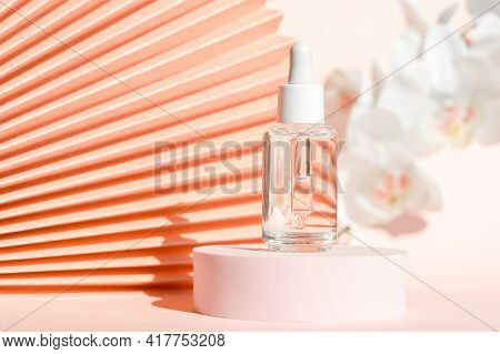 Cosmetic Serum With Peptides Product Presentation Mockup On Podium Pedestal And Chinese Paper Fan Pi