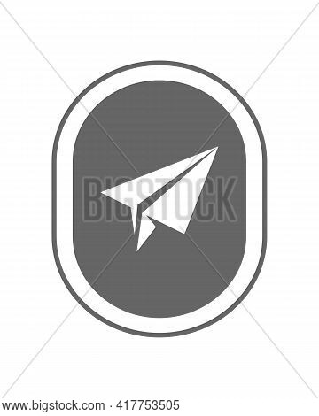 Paper Plane In The Porthole Of Plane Graphic Icon. Sign Paper Plane In The Oval Isolated On White Ba