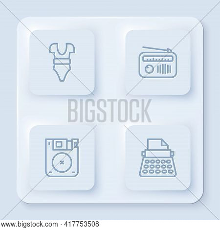 Set Line Swimsuit, Radio With Antenna, Floppy Disk And Retro Typewriter. White Square Button. Vector