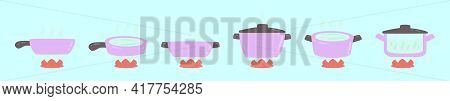 Set Of Boiling Water Cartoon Icon Design Template With Various Models. Modern Vector Illustration Is