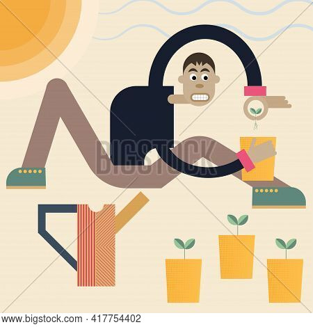 Vector Abstract Illustration Of A Gardener With Plants And Watering Can