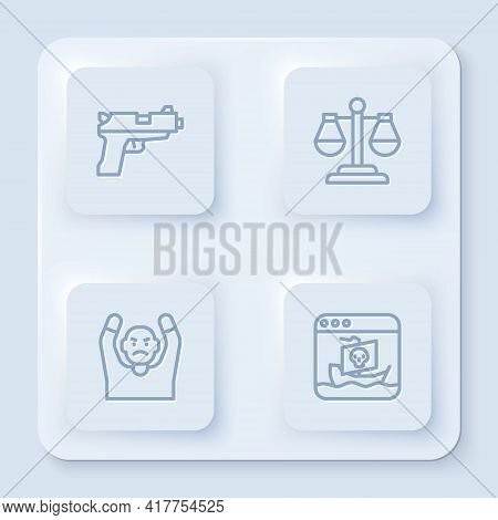 Set Line Pistol Or Gun, Scales Of Justice, Thief Surrendering Hands Up And Internet Piracy. White Sq