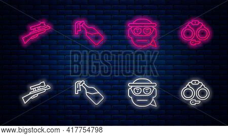 Set Line Cocktail Molotov, Bandit, Sniper Rifle With Scope And Handcuffs. Glowing Neon Icon On Brick