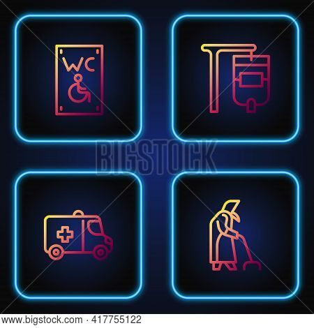 Set Line Grandmother, Emergency Car, Separated Toilet For Disabled And Iv Bag. Gradient Color Icons.