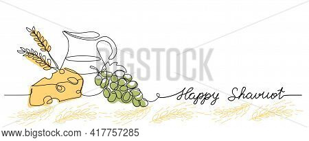 Happy Shavuot Vector Web Banner Background. One Continuous Line Drawing Illustration With Lettering