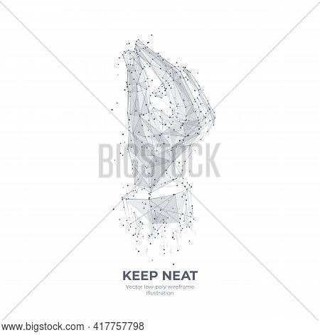 Digital 3d Hand Holding Something Tiny. Keep Neat, Hand Gesture Concept. Abstract Vector Human Wrist