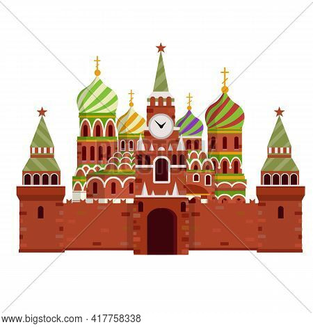 Orthodox Church. Eastern Religious Temple With Bell Tower. Monastery And Cathedral. Element Of Red S
